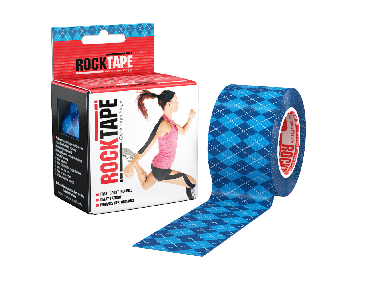 Rocktape 5cm Blue Argyle Pattern