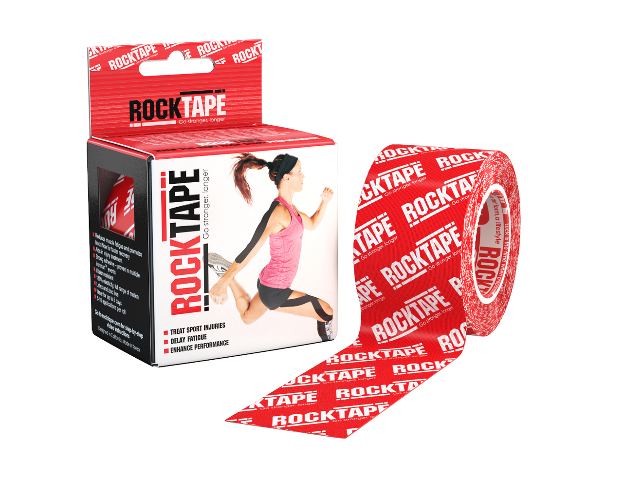 Rocktape 5cm Red Logo Pattern