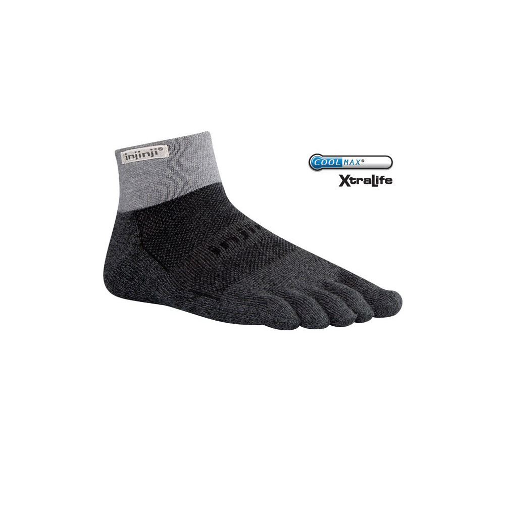 Mini-crew style toe socks designed for trail running