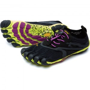 Womens V-Run Black Yellow Vibram Fivefingers
